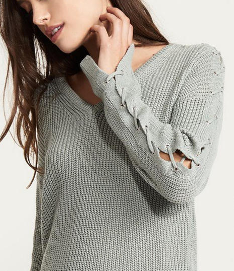 - Sweater With Lace- Up Sleeves $49.95