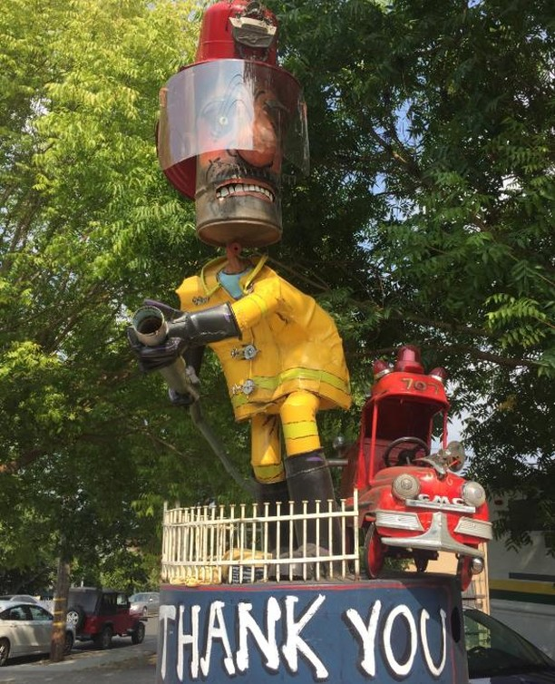 We want to take a moment to honor all of the #firstresponders who are fighting the fires spread all over the state! Thank you from the bottom of our hearts for doing everything you can to keep our homes and communities safe! (The art piece featured in this post was done by a local sculpturist team here in Sebastopol, Patrick Amiot and his wife Brigitte Laurent. You will find these art pieces all over the town of #Sebastopol if you ever happen to drive through on your trip through #winecountry!) #keepsebastopolweird #keepsebfunky #sonomacountystrong #napacountystrong #shastacountystrong #trinitycountystrong #mendocinocountystrong #orangecountystrong