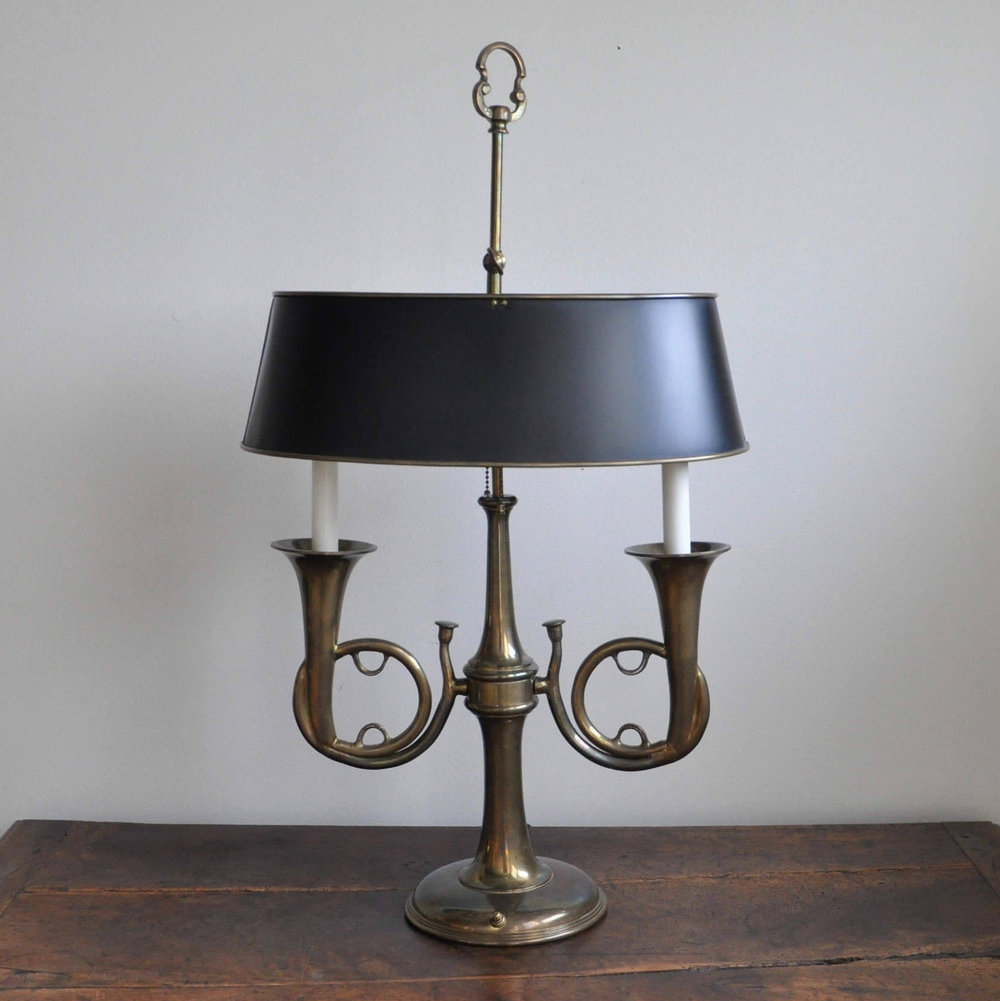 Chapman Brass French Horn Bouillotte Lamp With Tole Shade