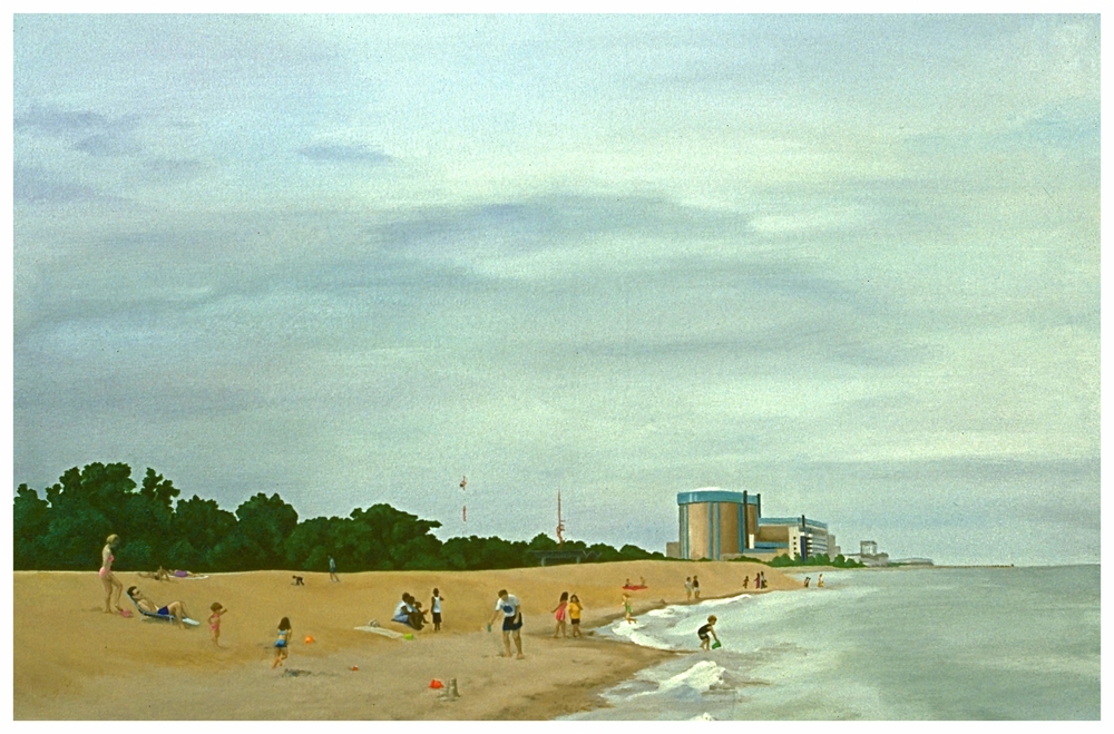 Zion Nuclear Plant/Illinois State Beach Park, 24x36 (sold)
