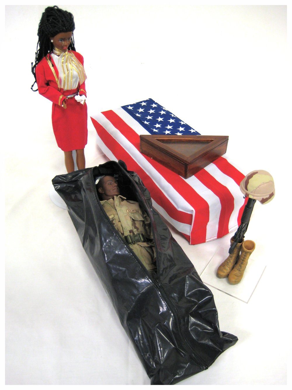 GI Joe reality set with body bag and flag