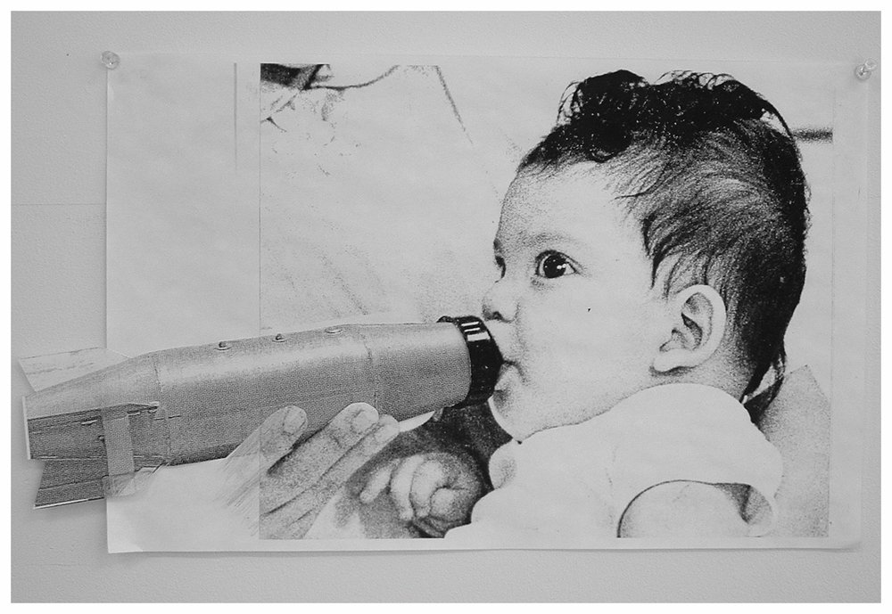 "Feeding Baby (xerox collage) 8.5""x14"""