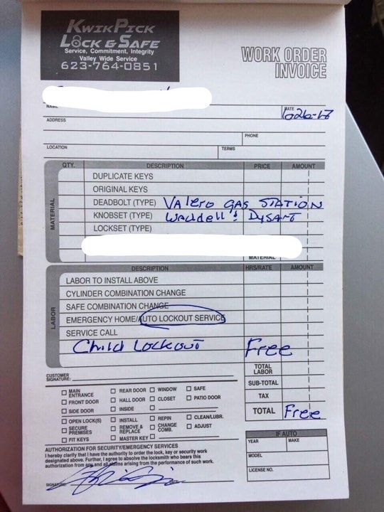 I got a lot of handshakes from onlookers when I gave the customer her bill (as shown).