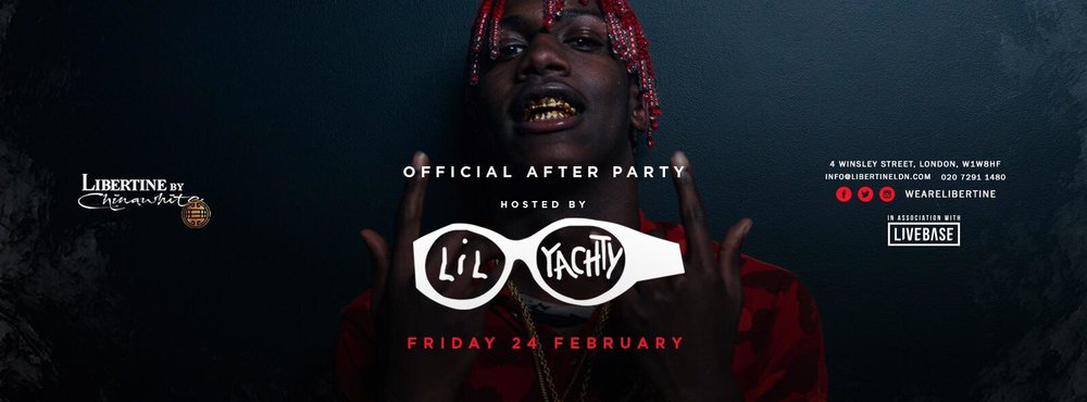 We'll be partaking in Libertine's action tonight as we havee an amazing announcement: Lil Yachty will be performing. We can only expect a performance overflowing with excitement and energy. We are eagerly anticipating for Libertine to open their doors tonight just so we can see what Lil Yachty has in store for us.