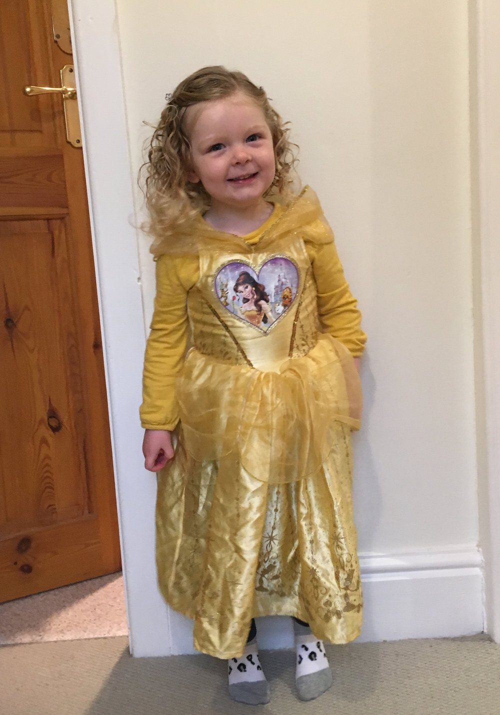 Little Rosie so happy dressed as Belle. Morrisions here we come!