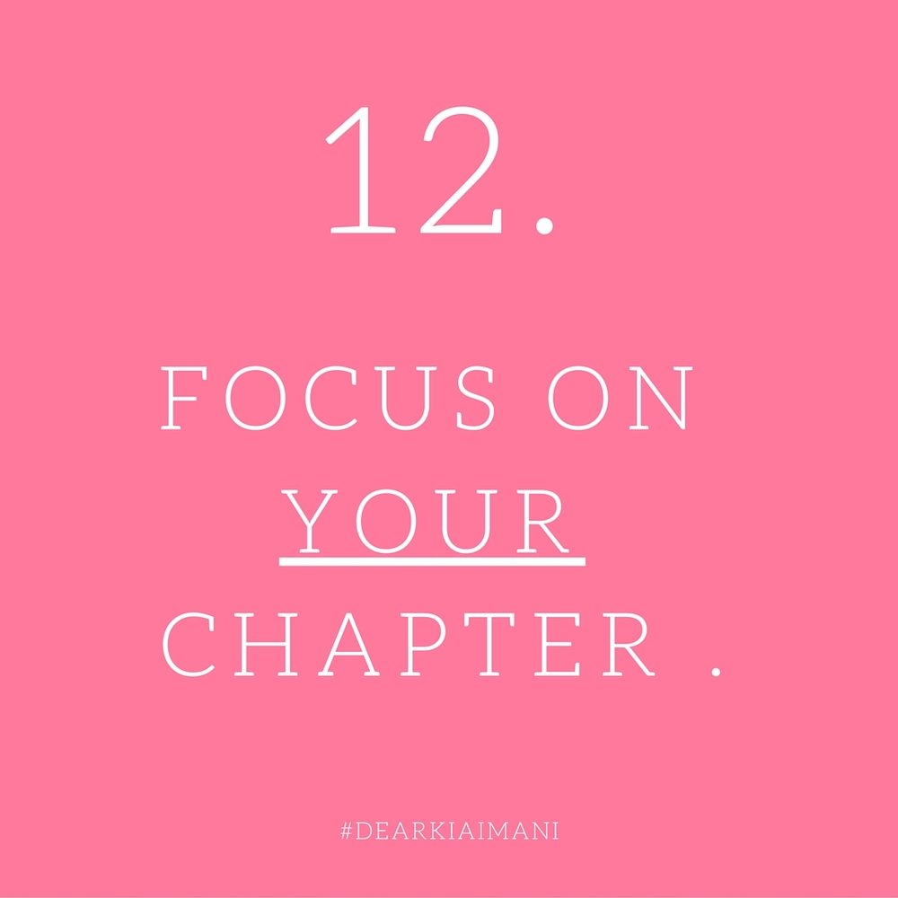 """#DearKiaImani , """"Comparison is the thief of joy."""" Stop comparing your chapter 3 to someone else's chapter 7. Enjoy YOUR journey to the top and focus on being the best at what YOU do."""