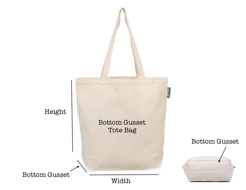While the bottom gusset tote bag has 'gusset' (extra fabric between the height and width) on the bottom.  Bottom Gusset Tote Bags are mostly used for:  Grocery Shopping & School/Work  Giveaways during trade shows/conventions  Gift with purchase  Tote bag collection at your store