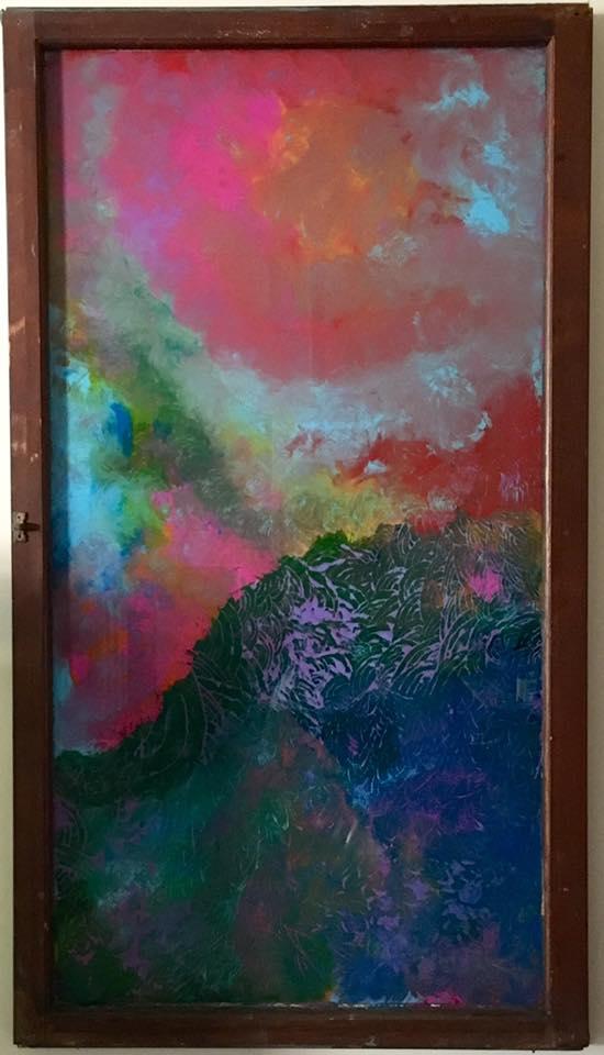 "Overcast - Acrylic on glass (25x44"") - SOLD"