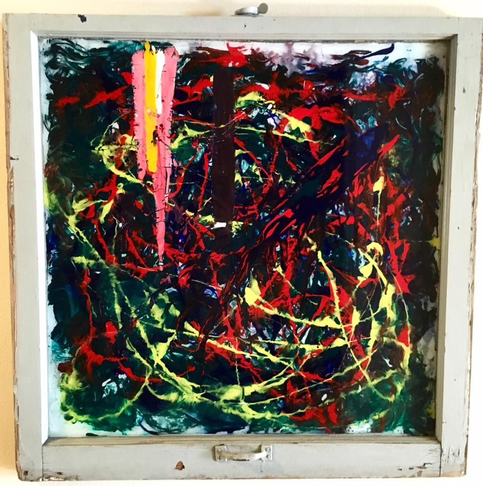"Brain S  torm - Acrylic on glass (32x32"") - $300"
