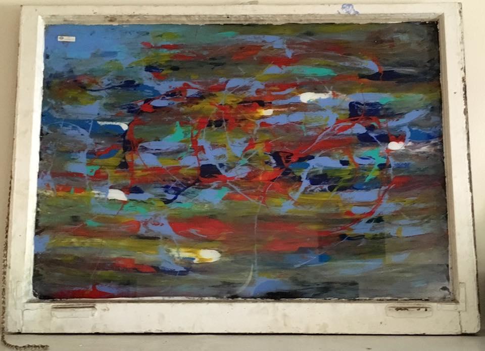 "Finite Possibilities - Acrylic on glass (44x32"") - $400"