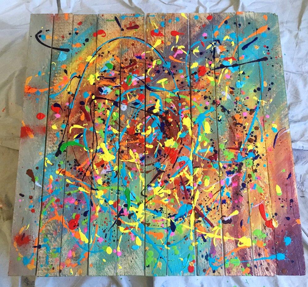 "Mess - Acrylic on wood (40x40"") - SOLD"