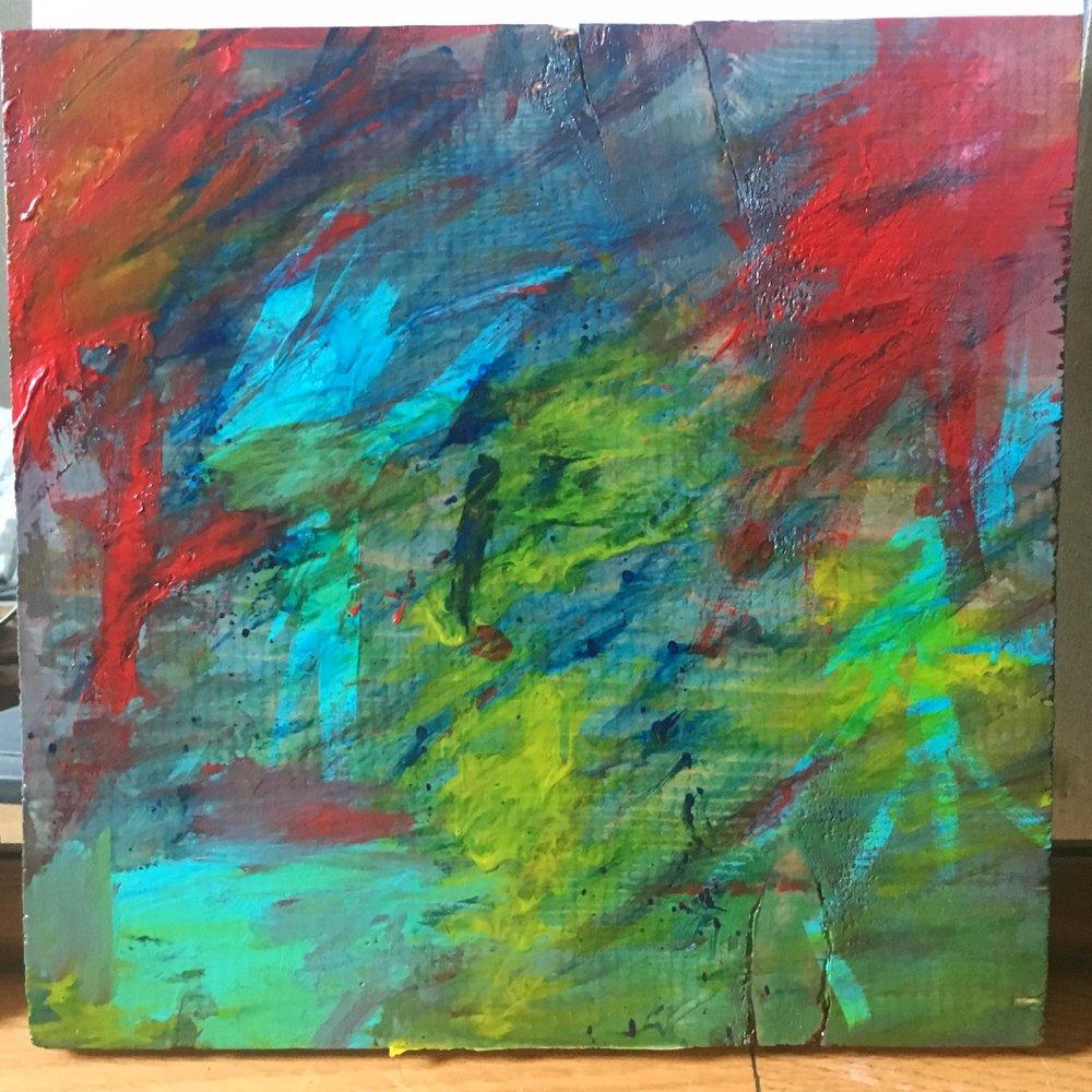 "Melt - Acrylic on wood (12x12"") - SOLD"