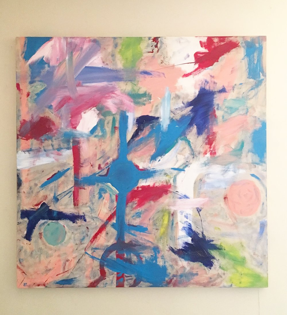 "Unwind - Acrylic on canvas (52x52"") - $1000"