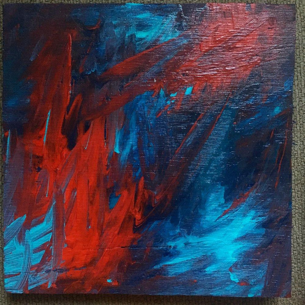 "Orbital - Acrylic on wood (8.5x8.5"") - $75"