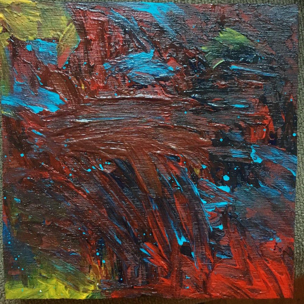 """Landing - Acrylic on wood (8.5x8.5"""") - $75"""