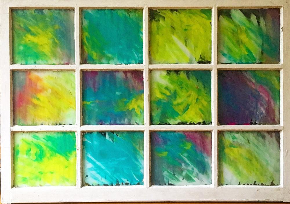 "Along the Way - Acrylic on glass (39x27"")- $300"
