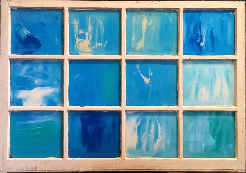 """Blue - Acrylic on glass (39x27"""") - SOLD"""