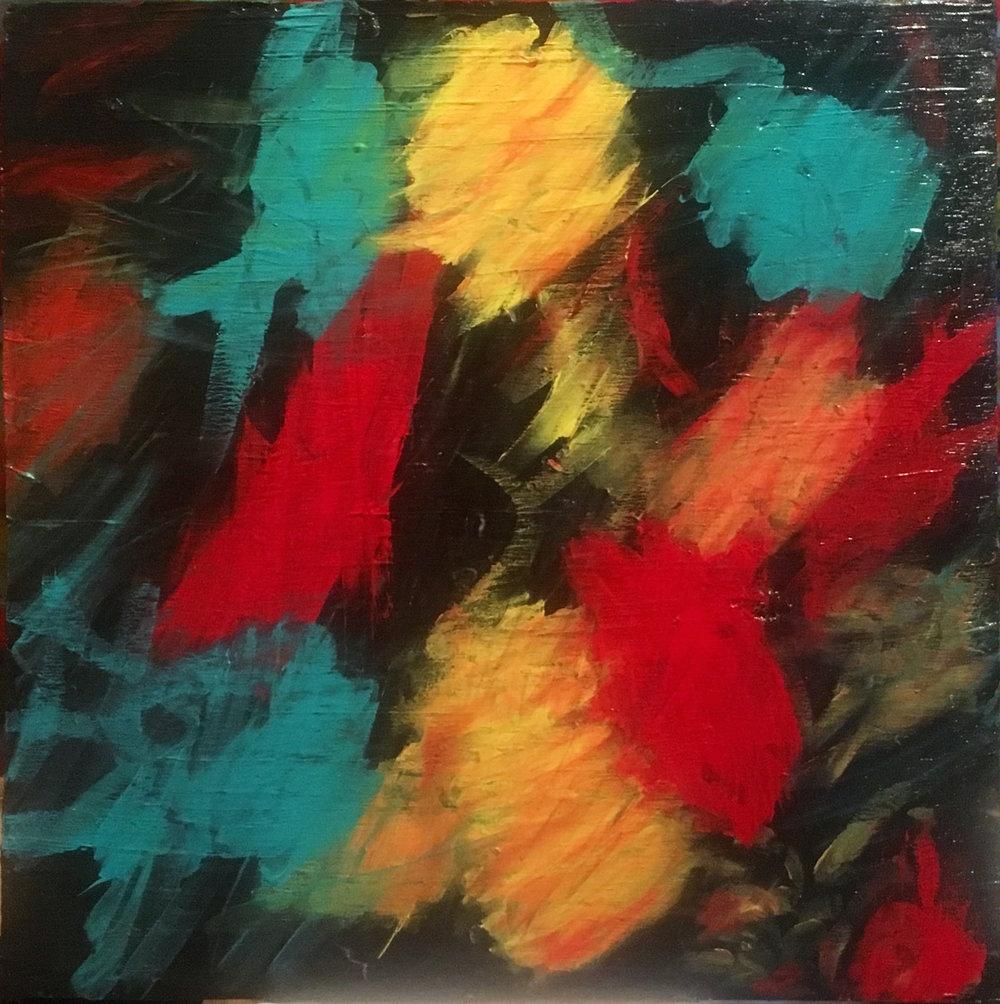 "Instinct - Acrylic on wood (20x20"") - $250"