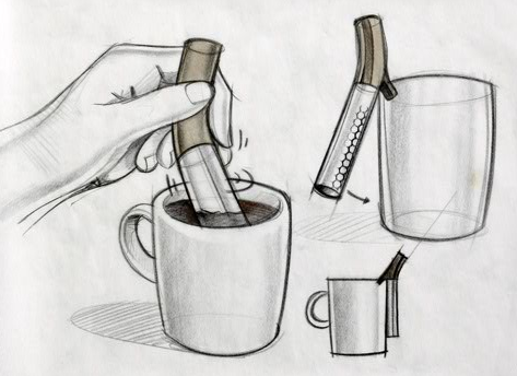 Yves Behar's sketches for the cocoa-making tool he designed