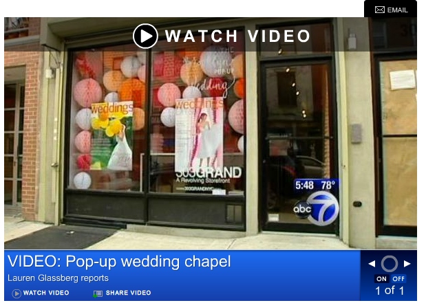 live on abc news ! paperfinger's calligraffiti at the pop-up wedding