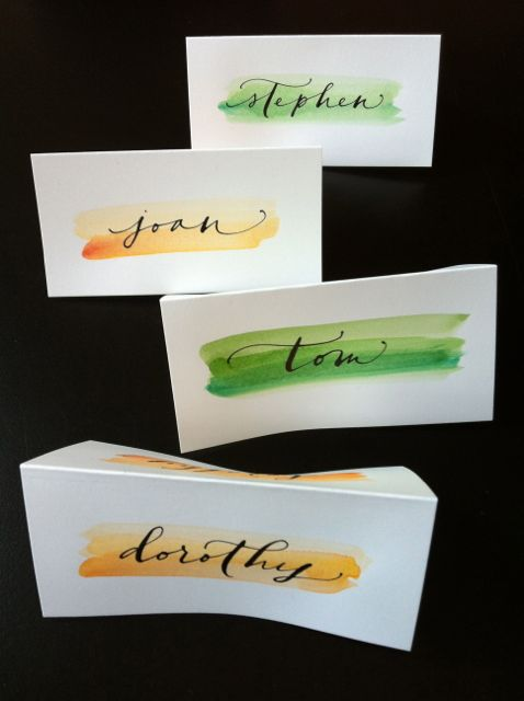 watercolor place cards a small dinner party