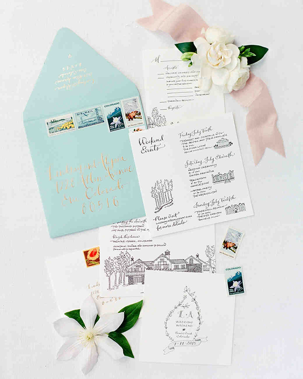 "From Martha Stewart Weddings: ""After spotting her work in Martha Stewart Weddings, the couple asked Bryn Chernoff of Paperfinger to design all of their stationery. The hand-calligraphed suite, letterpressed on Crane & Co. paper, featured drawings of Lindsay's house, where the ceremony took place, and the other weekend venues. Chernoff also sketched wildflowers for custom envelope liners. Stamps, from My Vintage Post Office, showed Colorado and mountain scenes."""