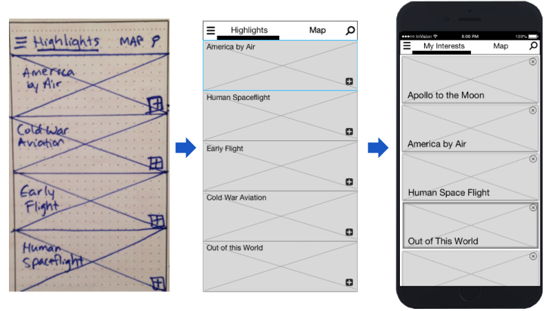 Highlights iteration process from sketch to prototype
