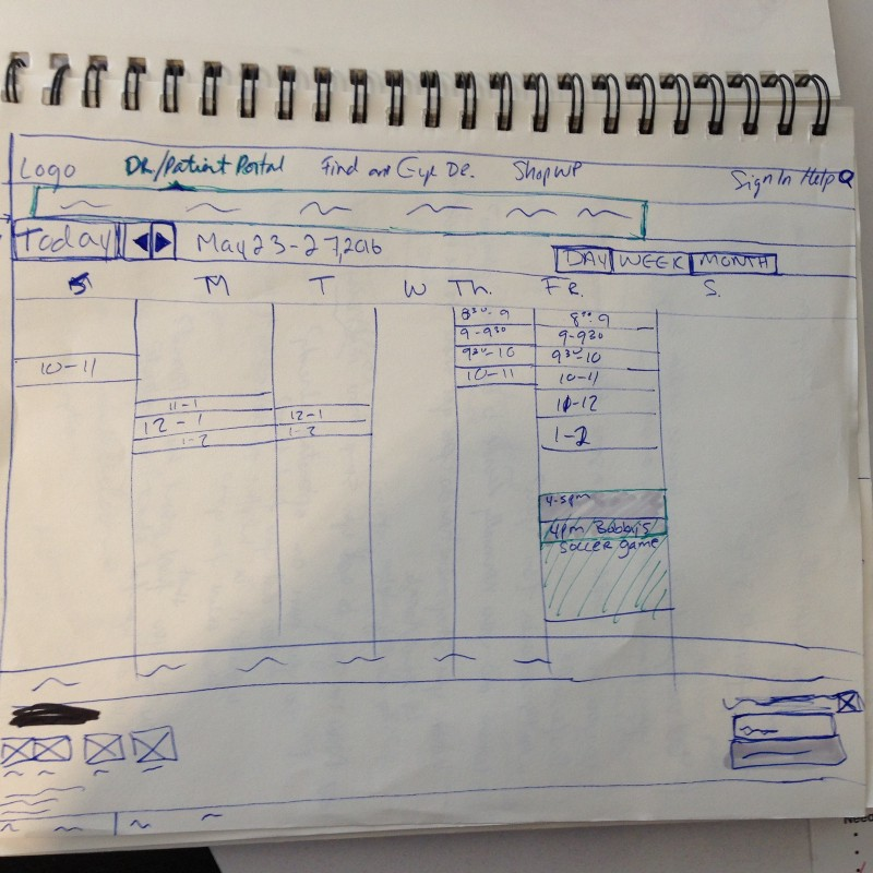 Sketch of 2nd iteration wireframe of a calendar