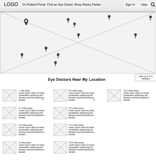 "Prototype snapshot of ""Doctors Near My Location"" page"