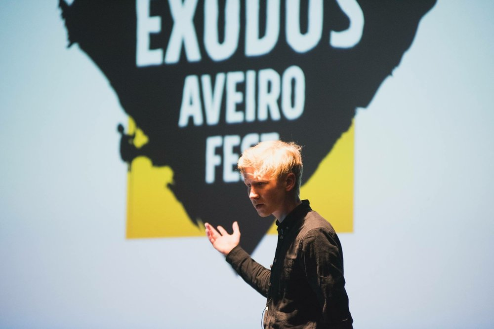 Konsta speaking in National Geographic Exodus Aveiro Fest in December 2017.