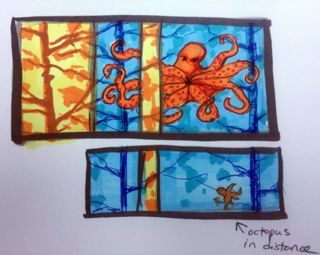 First sketch of Octopus painting idea.