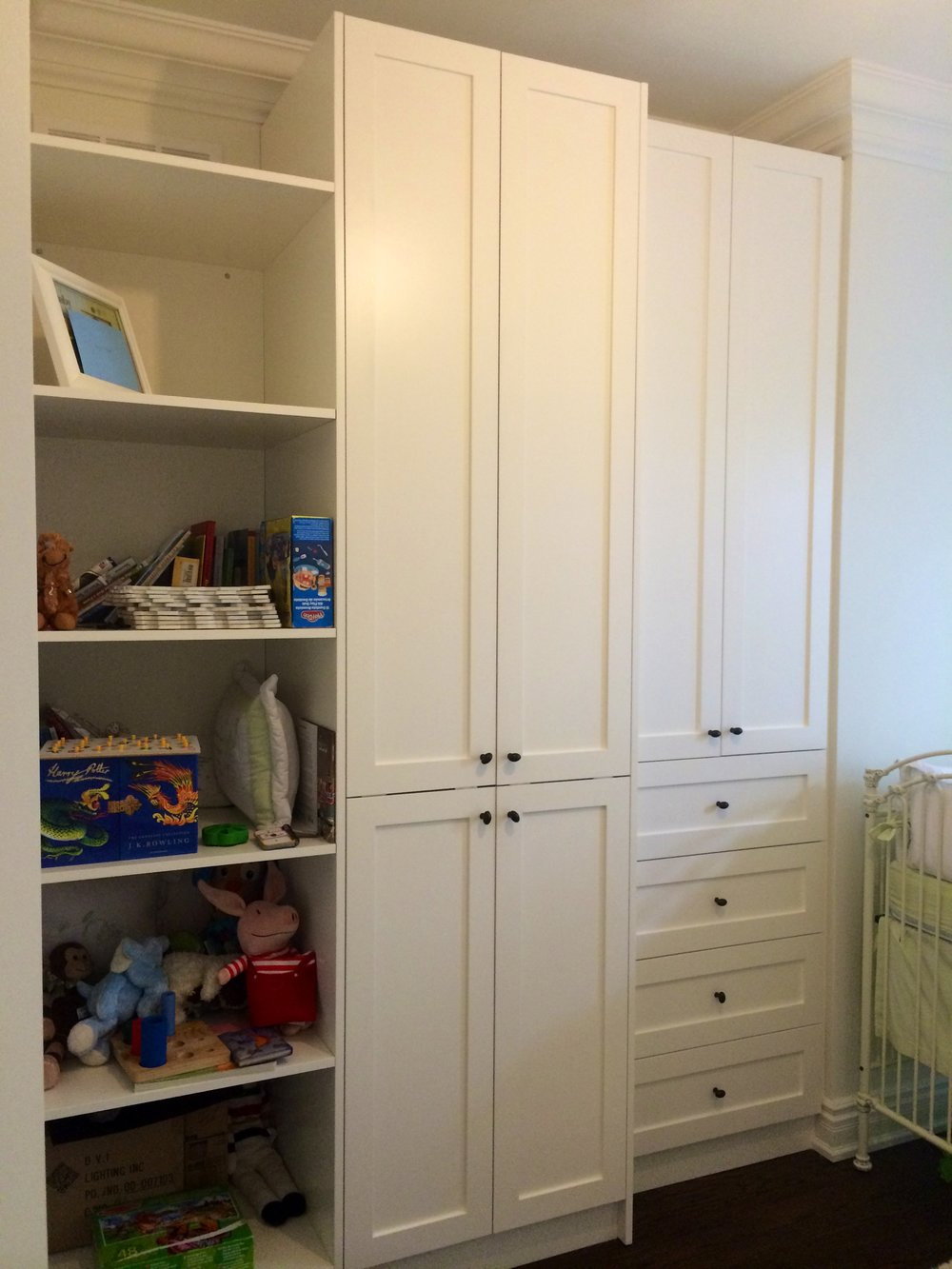 Babys Bedroom Closet   CUSTOM BUILT-IN CABINET FOR EXTRa storage in that new nursery. Low voc paint along with high quality natural wood products makes this a healthy choice for your baby.