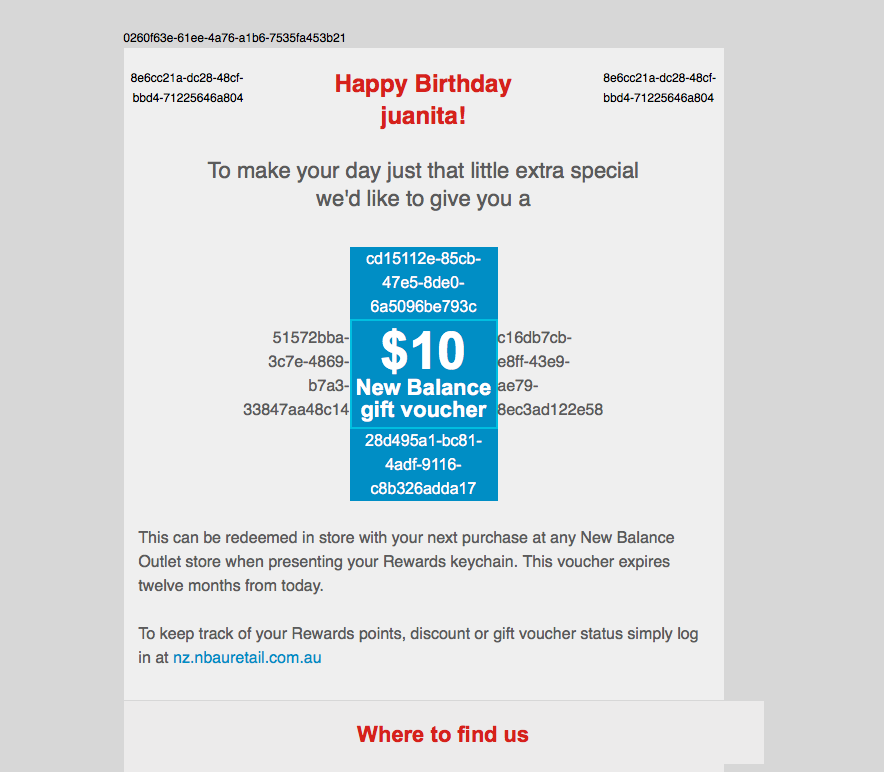 New Balance birthday email