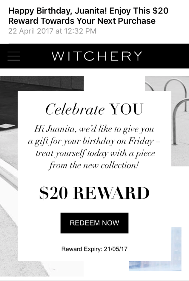 Witchery VIP Birthday offer