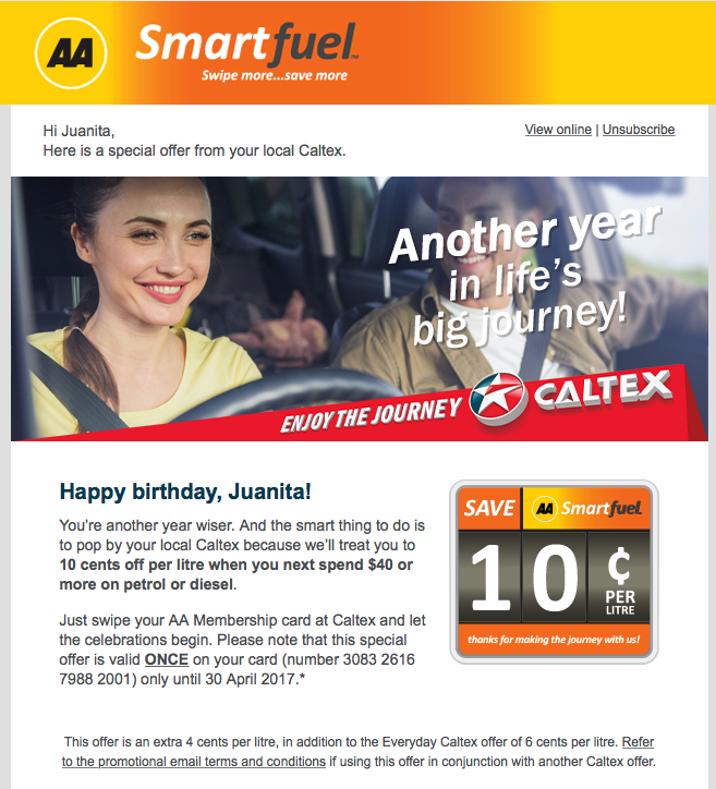AA Smartfuel birthday offer