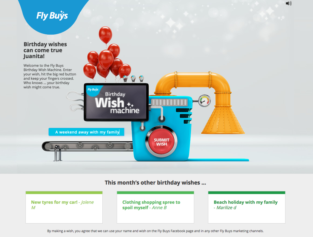 Fly Buys Wish Machine - something different. Very cool.