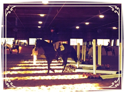 Rider jumping serpentine grid