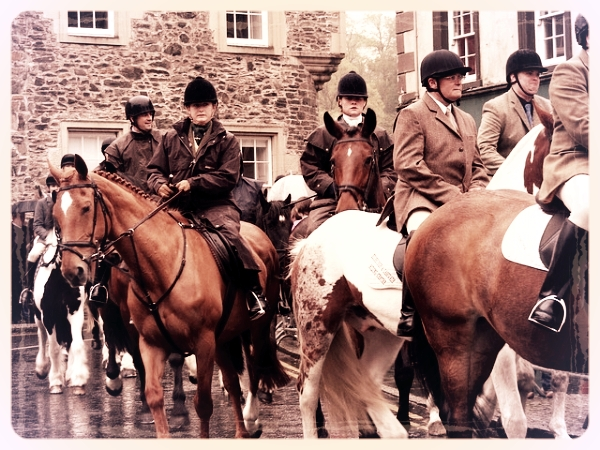 Multiple generations of riders going on a fox hunt.
