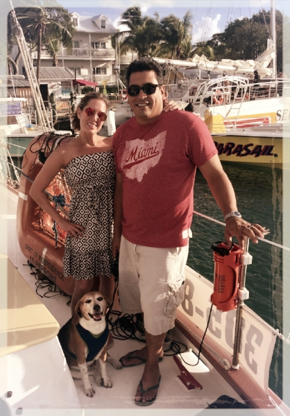 Jaxson enjoys traveling with his human parents on their dog cations.