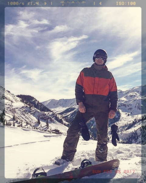 PC: Michael Calamusa. Jason prefers snowboarding at Snowmass with his friends.