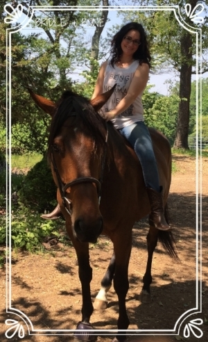 Me with my favorite OTTB, Delight.