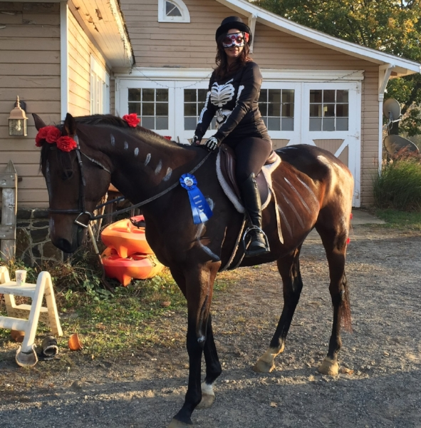Delight and I had fun dressing up at the Halloween Horse Show. He thinks he looks handsome.