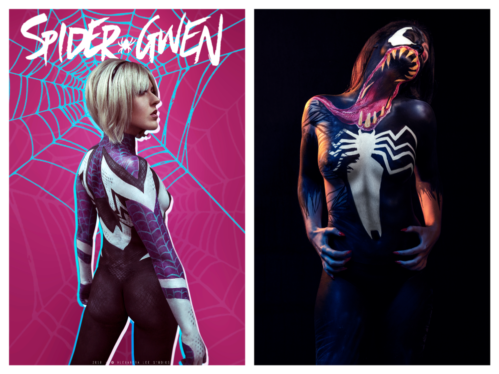 Spider-Gwen:  Photo: Alexandra Lee Brumley  Model: Melanie Smith  Wig: Matthew Tyldsley    Venom:  Photo: Danny Alexander  Model: Rebecca Rhodes