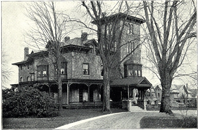 "Edward White Clark Residence School House Lane, S.E. corner Wissahickon Ave., Germantown ""In the midst of beautifully situated and highly cultivated grounds, with tower and spacious verandah, has stood for a generation the typical suburban home of Edward W. Clark, son of the late banker, Enoch W. Clark, and the senior partner of the esteemed banking house of E.W. Clark, & Co.""   Photo and caption source: Moses King, King's Views of Philadelphia: Illustrated Monograph (New York: Moses King, 1900), part 6."