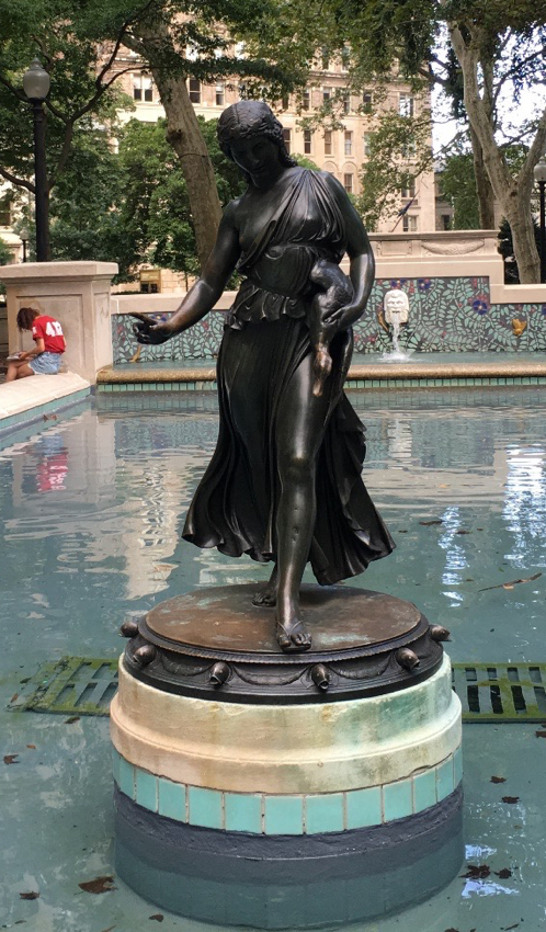 Paul Manship (1885–1966), Duck Girl, bronze, 1911 (cast 1917), Rittenhouse Square, Philadelphia, PA. Purchased by the Fairmount Park Art Association, it was placed in Cloverly Park, where it stood until 1956.
