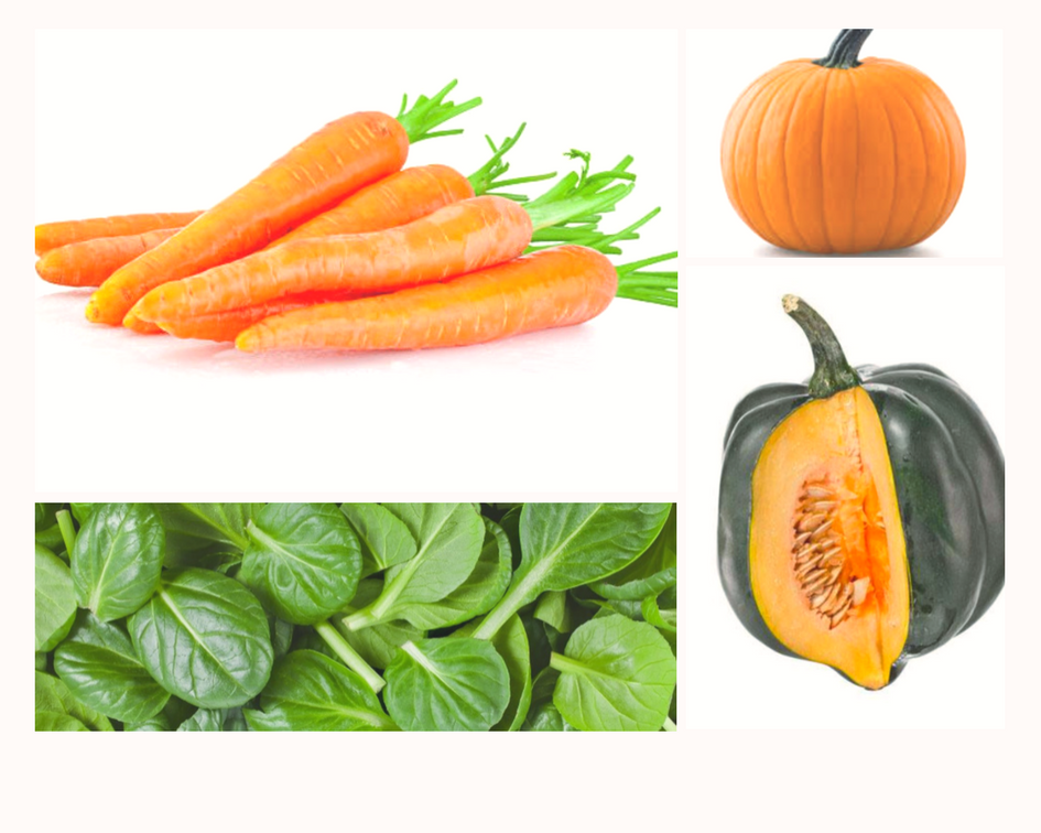 Healing Foods - Vitamin A - Sources include carrots, pumpkin, spinach, and acorn squash