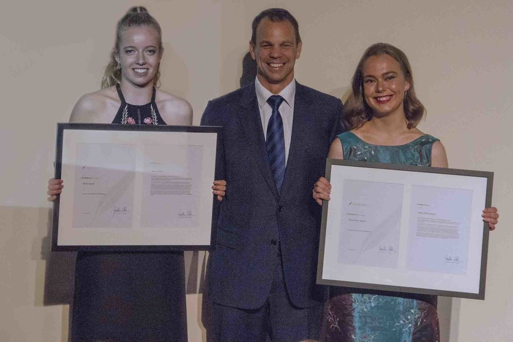 The 2016 Woodleigh Prize Winners Romy Lipszyc, left, and Nixie-Claire Lepore, right, with Woodleigh School Principal Jonathan Walter.