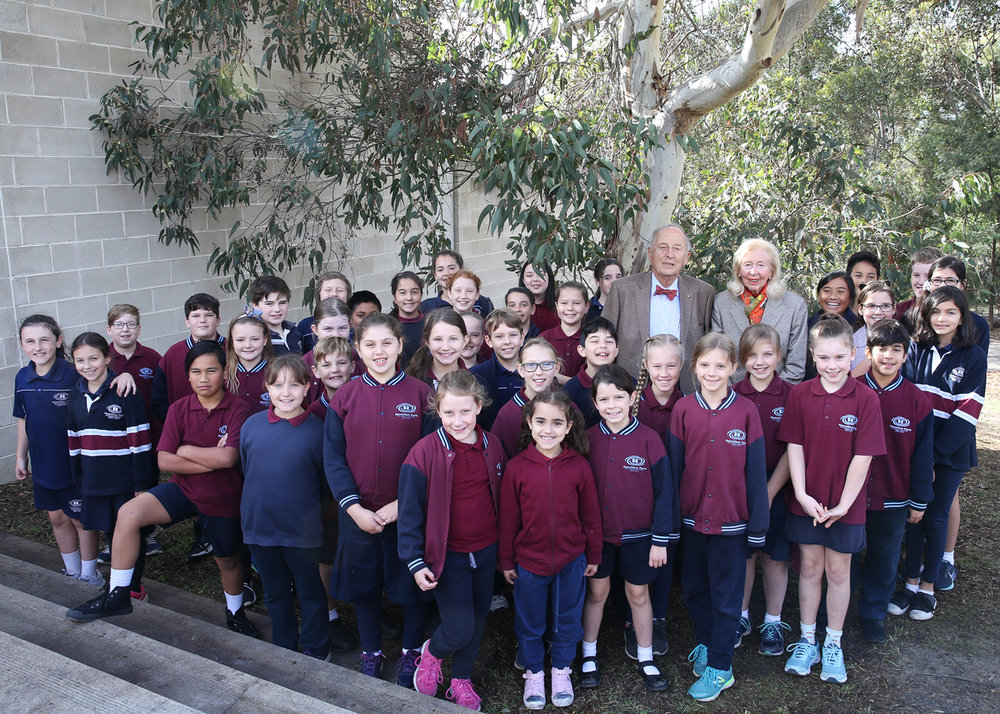 Baillieu Myer AC, Sarah Myer and students from Rowellyn Park Primary School in Carrum Downs were among those at the turning of the sod for the new pavilion and terrace at McClelland Sculpture Park+Gallery.