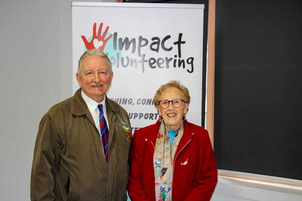 The overall winner of the 2017 Volunteer of the Year Awards, Ada Fletcher, from Community Support Frankston, with Mayor Colin Hampton.