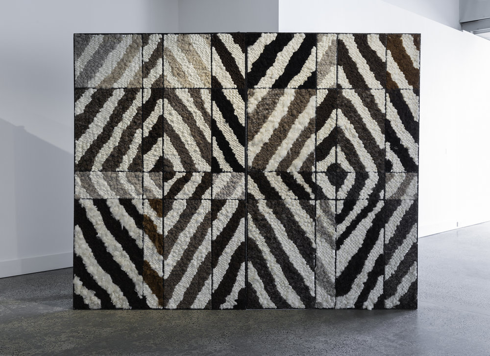 Sanné Mestrom's Black Painting III 2014, unspun undyed woollen tapestry, steel, 200 x 250 x 51cm. Photography by Christian Capurro.
